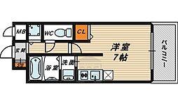 クレアート大阪トゥールビヨン 2階ワンルームの間取り