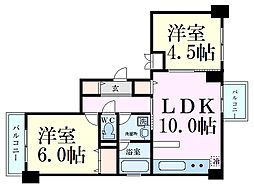 Osaka Metro御堂筋線 中津駅 徒歩12分の賃貸マンション 2階2LDKの間取り