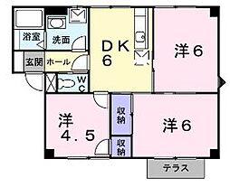 香川県丸亀市川西町北の賃貸アパートの間取り
