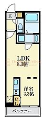 福岡市地下鉄空港線 唐人町駅 徒歩5分の賃貸マンション 2階1LDKの間取り
