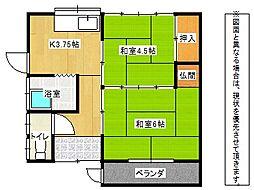 岩田アパート[1階]の間取り
