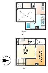 愛知県名古屋市守山区守牧町の賃貸アパートの間取り