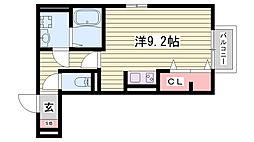 神戸市西神・山手線 伊川谷駅 徒歩6分の賃貸アパート 3階ワンルームの間取り