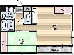 グローリーマンション[4階]の間取り