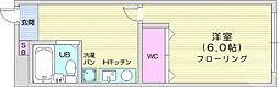 仙台市営南北線 北四番丁駅 徒歩14分の賃貸アパート 1階1Kの間取り