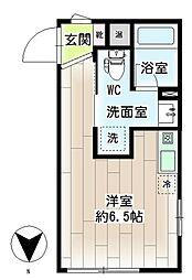 横浜市営地下鉄ブルーライン 三ツ沢下町駅 徒歩1分の賃貸マンション 3階ワンルームの間取り