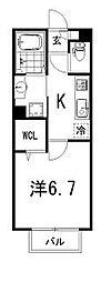 仮)Dルーム大萱2丁目ハイツ 2階1Kの間取り