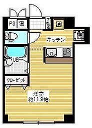 曽根ビル 2階ワンルームの間取り