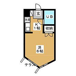 東急目黒線 武蔵小山駅 徒歩9分の賃貸マンション 1階ワンルームの間取り