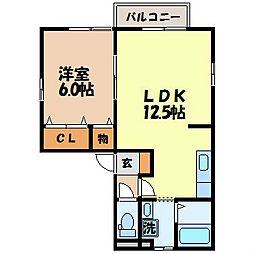 長崎県諫早市久山台の賃貸アパートの間取り