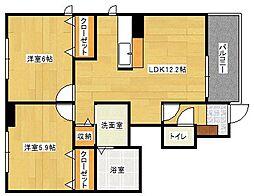 広島県広島市安佐南区東野2丁目の賃貸アパートの間取り