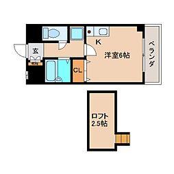 奈良県大和高田市神楽の賃貸マンションの間取り