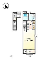 ウイングK Ⅳ[2階]の間取り