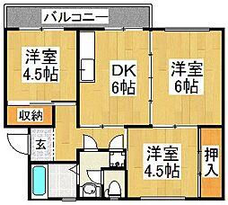下野池第2住宅5号棟[4階]の間取り