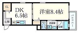 阪神本線 御影駅 徒歩6分の賃貸マンション 3階1DKの間取り