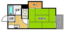 京都府京都市上京区三丁町の賃貸アパートの間取り