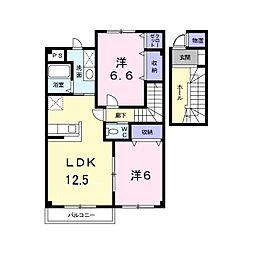 長野県東御市加沢の賃貸アパートの間取り