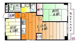 ハイツオークラ[1階]の間取り