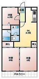 グリーンタウン鶴ヶ島[4階]の間取り