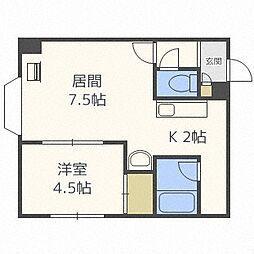 北海道札幌市豊平区水車町2丁目の賃貸マンションの間取り