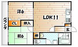 ハイツ岡部24[2階]の間取り