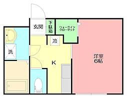 ピュアメゾン平塚中里 1階1Kの間取り