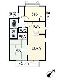 サンパーク聖心B[1階]の間取り