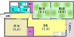 夢野ハイタウン1号棟[6階]の間取り