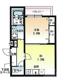 JR東海道・山陽本線 岸辺駅 徒歩10分の賃貸アパート 2階1DKの間取り