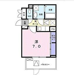 JR宇野線 備前西市駅 徒歩16分の賃貸アパート 1階1Kの間取り