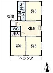ヤタラネハイツ[3階]の間取り