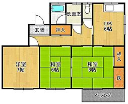 甲陽山荘[301号室]の間取り