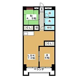 アールイーステージ蟹江(黒川ビル)[1階]の間取り