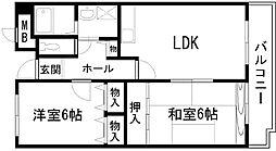 ドエル岸和田[102号室]の間取り