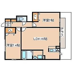 兵庫県神戸市西区二ツ屋1丁目の賃貸アパートの間取り