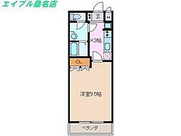 三重県いなべ市員弁町上笠田の賃貸アパートの間取り