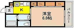JR東海道・山陽本線 摂津本山駅 徒歩11分の賃貸マンション 1階1Kの間取り
