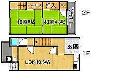 [テラスハウス] 大阪府大東市北条5丁目 の賃貸【/】の間取り