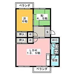 江場ハイツ[3階]の間取り