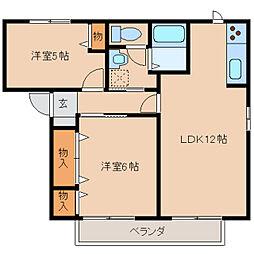 奈良県橿原市木原町の賃貸アパートの間取り