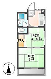 秋山ハイツ[2階]の間取り