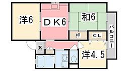 兵庫県姫路市南条1丁目の賃貸アパートの間取り