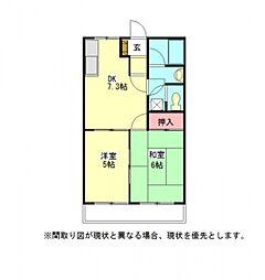 愛知県一宮市開明字新田沼の賃貸アパートの間取り