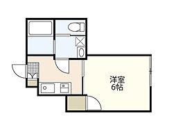 JR山陽本線 五日市駅 徒歩20分の賃貸アパート 1階1Kの間取り