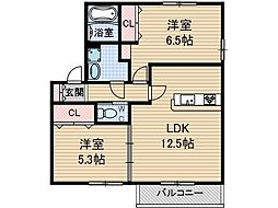 メル・ベイユ B棟[2階]の間取り