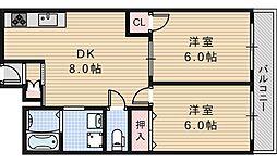 ルミネス阪南[603号室]の間取り