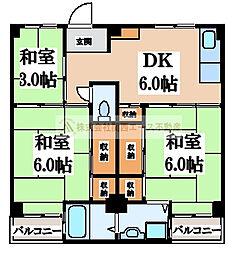 ビレッジハウス伏屋4号棟[4階]の間取り
