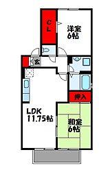 ハイカムール門松A棟[2階]の間取り
