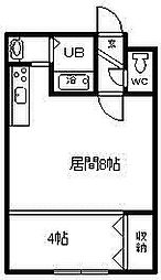 コットンハウス17 2階1DKの間取り