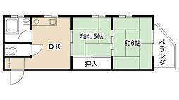 Uハイツ甲子園[203号室]の間取り